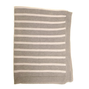 Blanket - grey stripe knit blanket