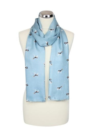 Scarf with Beagles - Duck Egg