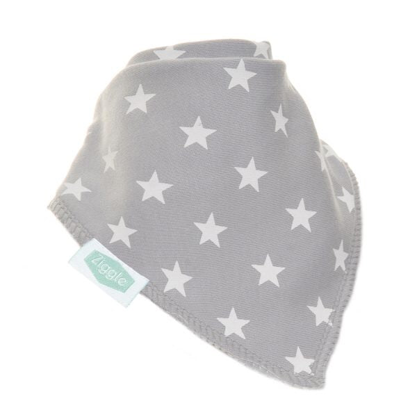 Fun absorbent baby bandana - grey with white stars