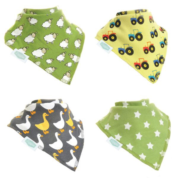 Fun absorbent baby bandana - Farm