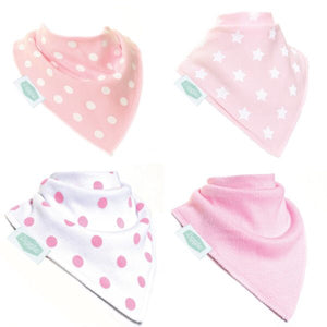 Fun absorbent baby bandana - Baby pink and white