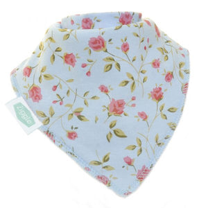 Fun absorbent baby bandana - vintage blue rose