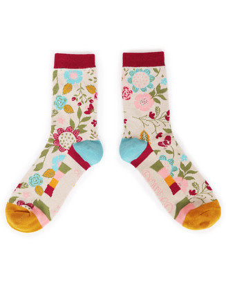 Ankle Socks - Scandi Floral Cream