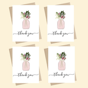Mini Card Pack - Thank you - Jar of Flowers