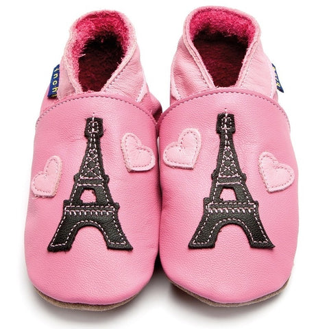 Inch Blue Baby Shoes - Eiffel Tower Rose Pink