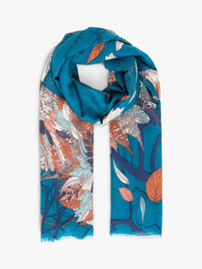 Autumn Owl Scarf - Teal