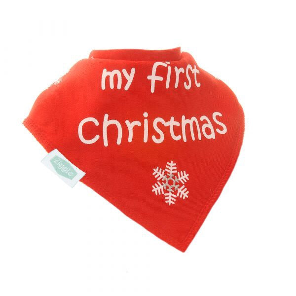 Fun absorbent baby bandana - My first Christmas