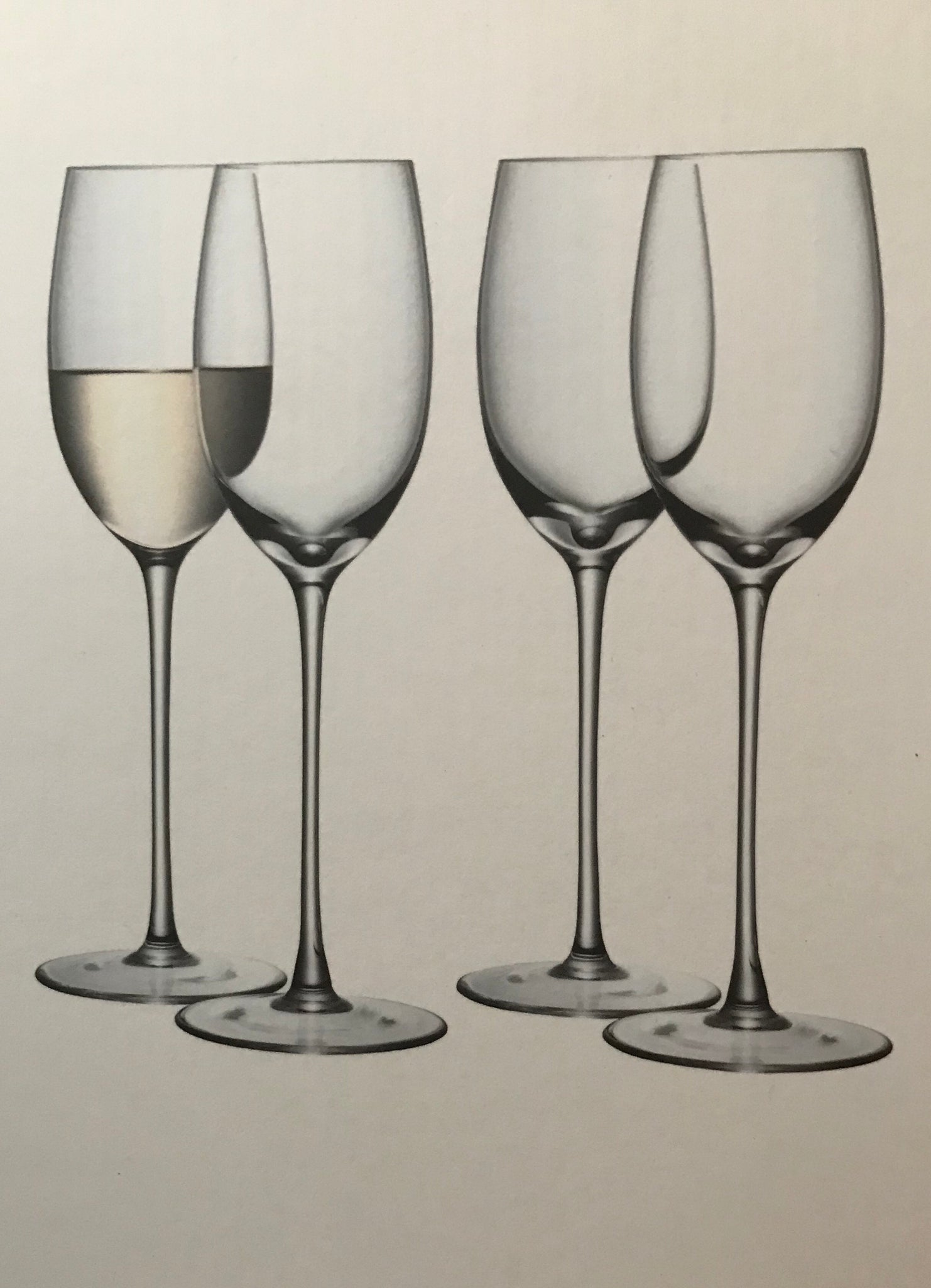 cadeauxwells - Set of 4 White Wine Glasses - 340ml - LSA - Glassware