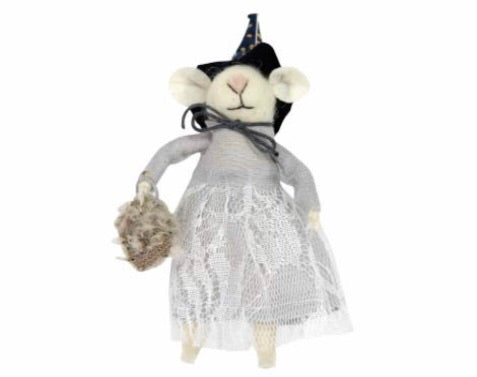 cadeauxwells - Wool Mix Mouse Witch Decoration - Gisela Graham - Seasonal