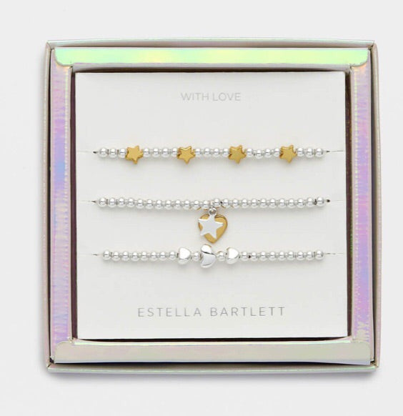 Two Tone Star and Heart Bracelet Trio Gift Set