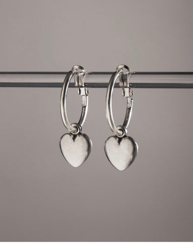 Chunky Mini Heart Hoop Earrings by Danon