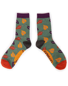 Ankle Socks - Autumn Leaves Moss