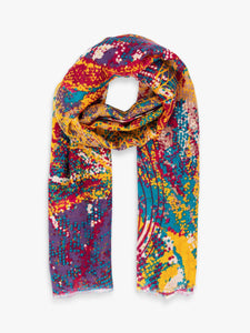 Abstract Leaves Scarf - Mustard