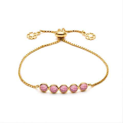 'Iona' 5 Stone Slide Toggle Bracelet - Ruby Quartz