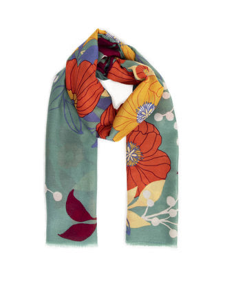 Autumn Floral Print Scarf - Moss