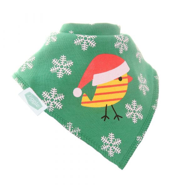 Fun absorbent baby bandana - Robin on Green