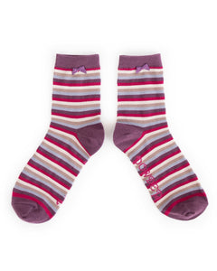 Ankle Socks - Stripe Damson
