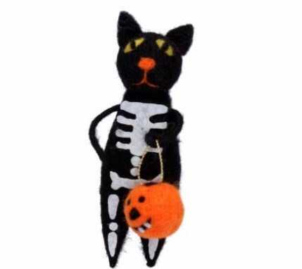cadeauxwells - Mixed Wool Skeleton Cat with Pumpkin - Gisela Graham - Seasonal