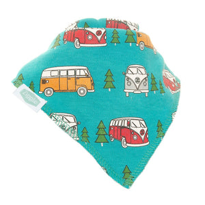 Fun absorbent baby bandana - retro campervans