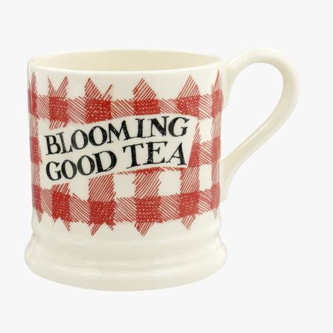 Red Gingham Blooming Good Tea 1/2 Pint Mug