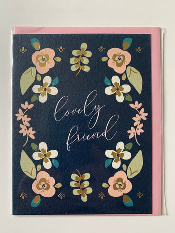 Lovely Friend - Navy Folk Floral