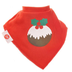 Fun absorbent baby bandana - Xmas - red pudding