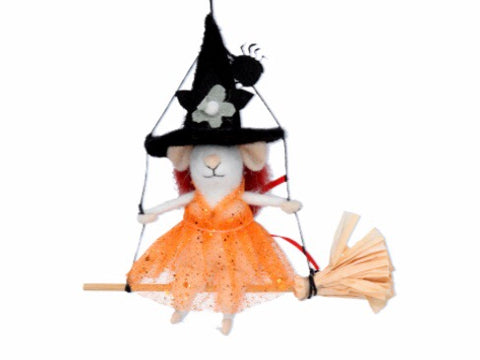 cadeauxwells - Mixed Wool Mouse On Broom Decoration - Gisela Graham - Seasonal