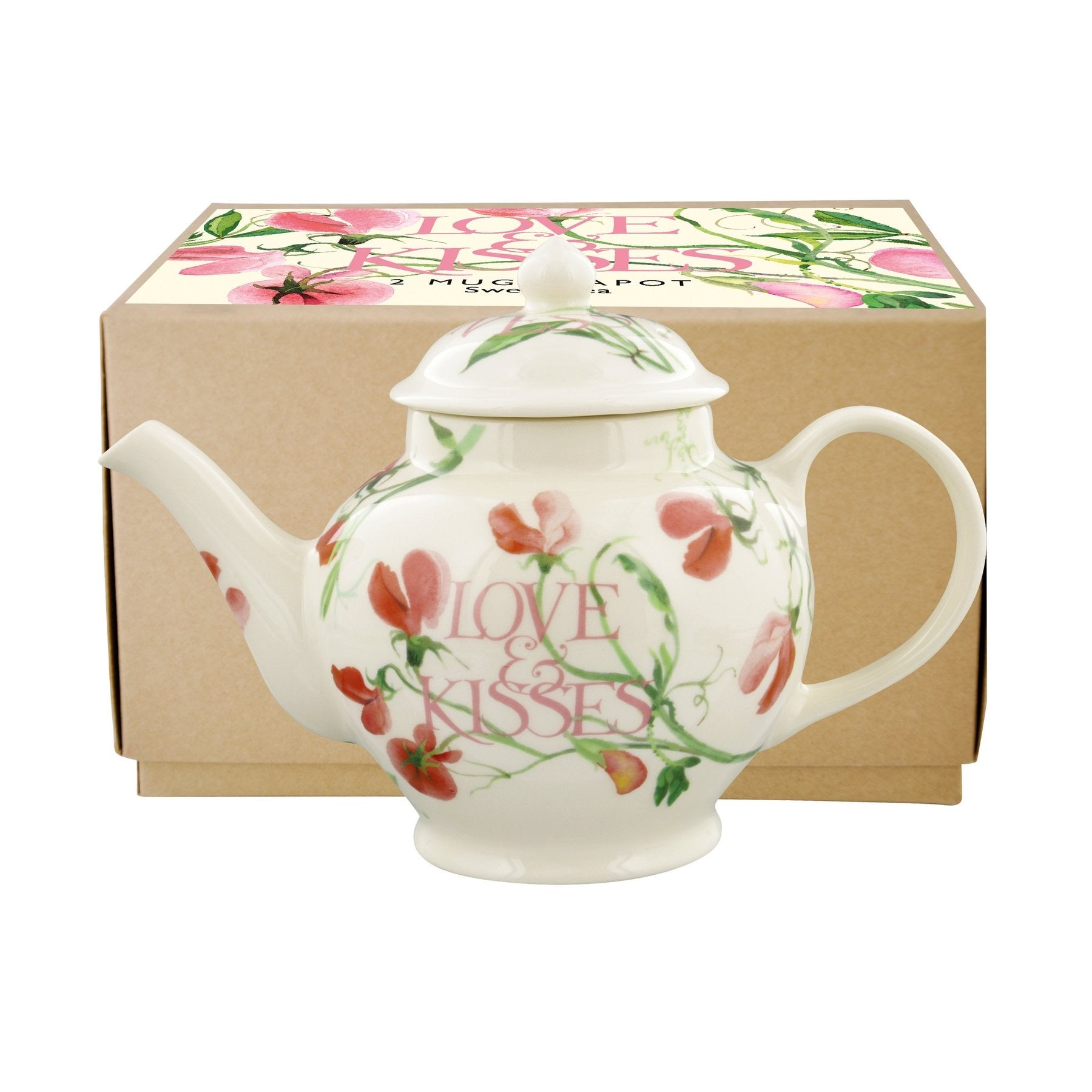 Emma Bridgewater Sweet Pea 'Love & Kisses' 2 Mug Teapot