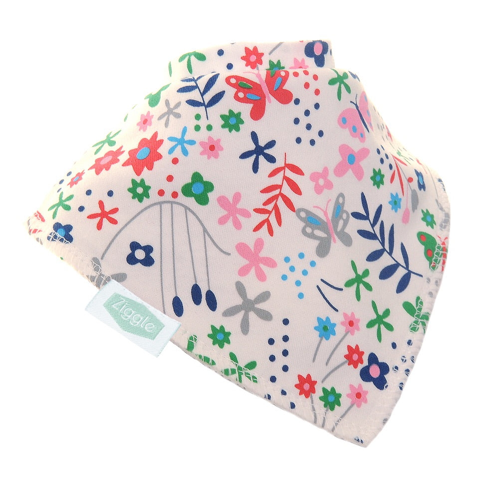 Fun absorbent baby bandana - Butterflies and Ferns