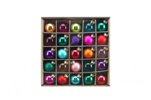 Box or 25 Multicolour Clear/Laquer/Matt Glass Baubles
