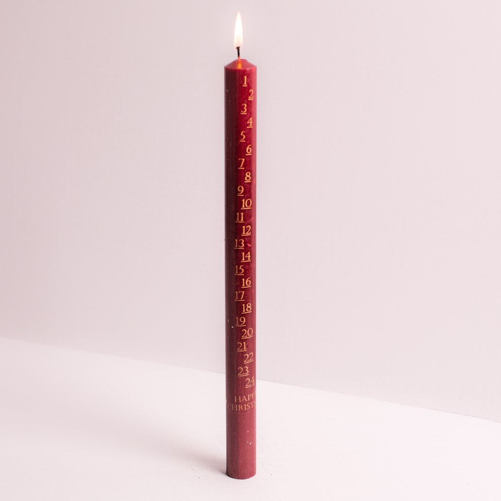 "cadeauxwells - Red Advent Candle 7/8"" x 12"" - St Eval Candles - Candles"