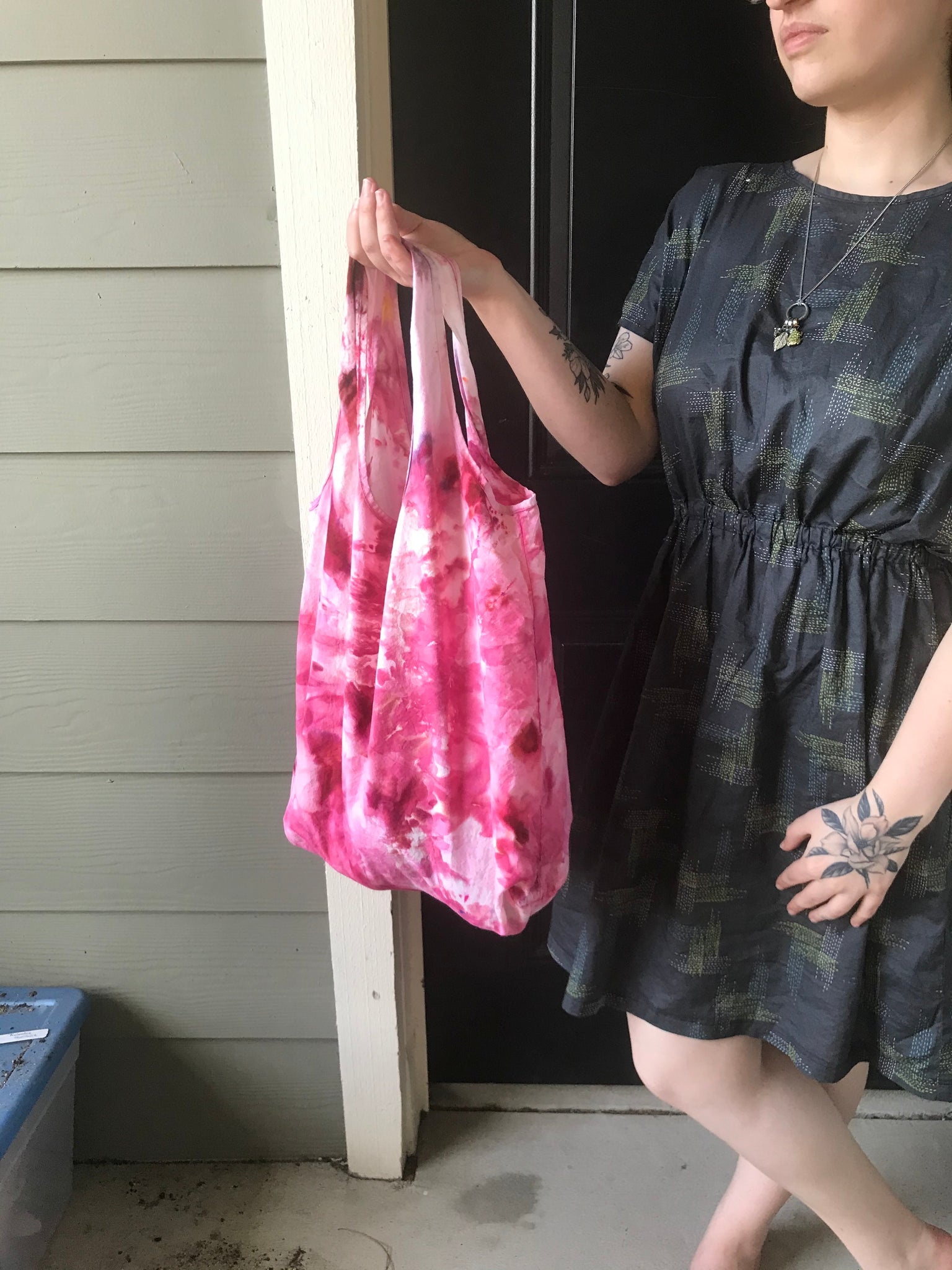 Market Bag - Ice Dyed Red B