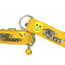 "Lade das Bild in den Galerie-Viewer, DOGGIDOG PARIS Designer Hundehalsband | Lederhalsband | Dog Collar ""HAPPY"""