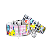 Lade das Bild in den Galerie-Viewer, up2dog-doggidog-paris-designerhalsband-hundehalsband-vinyl-modell-popart-cinema-allcolors-transparent-wasserfest-weiss-pink-schwarz