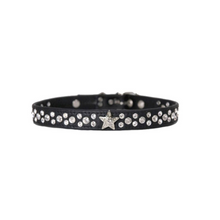 Lade das Bild in den Galerie-Viewer, up2dog-dogskingdom-designerhalsband-hundehalsband-lederhalsband-luxushalsband-crystallized-swarovski-elmente-nappaleder-weich-florida-schwarz