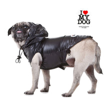 Lade das Bild in den Galerie-Viewer, up2dog-ilovemydog-fashionstreetwearfordogs-hunderegenmantel-hundeallwettermantel-regenjacke-dograincoat-teflonbeschichtet-wasserdicht-schwarz
