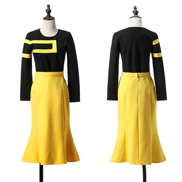 CM-SF120620 Women Elegant Long Sleeve Blouse With High Waist Fishtail Skirt - Set