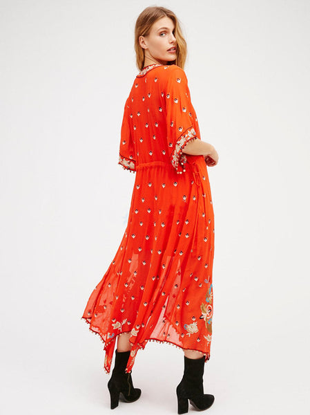 CM-EF010903 Women Retro European Style V-Neck Floral Embroidery Long Dress - Orange