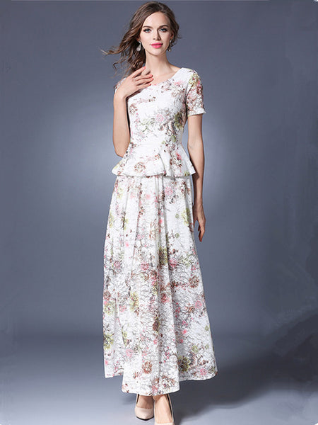 CM-SF033122 Women Casual European Style Flouncing Lace Blouse With Floral Long Skirt - Set