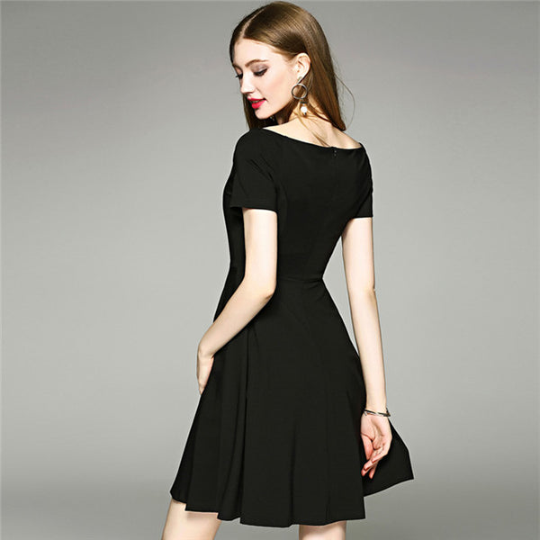 CM-DF052910 Women Charming Boat Neck Fitted Waist Short Sleeve A-Line Dress - Black