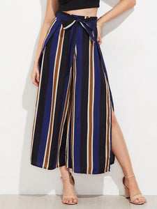 CM-BS620301 Women Casual Seoul Style Vertical Striped Split Side Wide Leg Pants