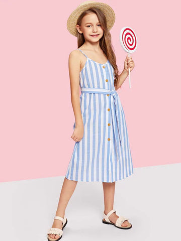 CM-KD704706 Girls Seoul Style Button Up Belted Striped Dress - Blue