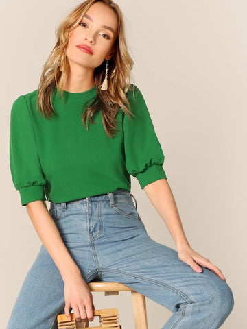 CM-TS225236 Women Casual Seoul Style Half Puff Sleeve Keyhole Back Top - Green