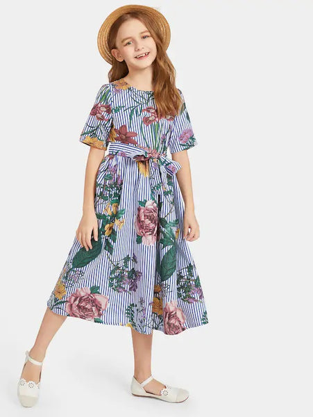 CM-KD225379 Girls Seoul Style Striped Floral Print Belted Dress - Blue