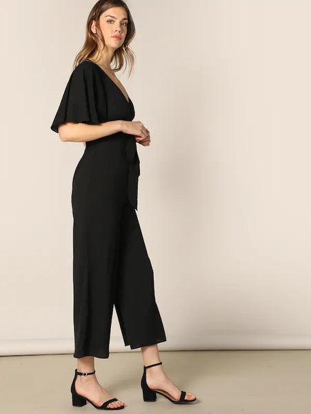 CM-JS225942 Women Casual Seoul Style Surplice Neck Flutter Sleeve Wide Leg Jumpsuit - Black