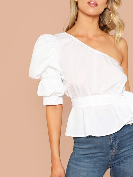CM-TS114055 Women Elegant Seoul Style One Shoulder Puff Sleeve Belted Solid Top - White
