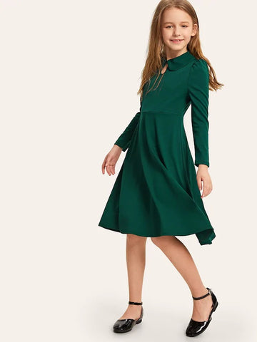 CM-KD229997 Girls Seoul Style Button Keyhole Front Puff Sleeve Dress - Green