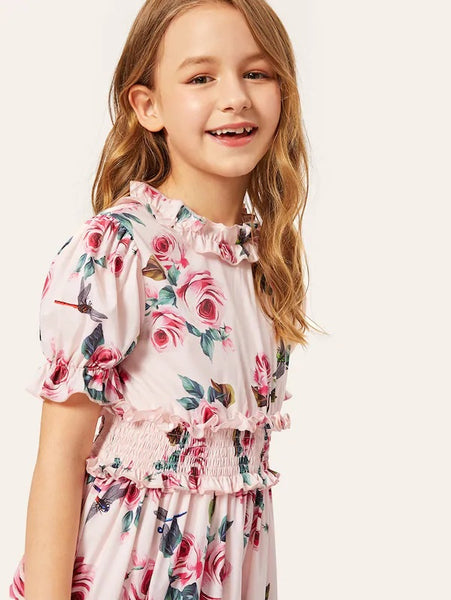 CM-KD117177 Girls Seoul Style Ruffle Layered Shirred Waist Floral Dress - Pink