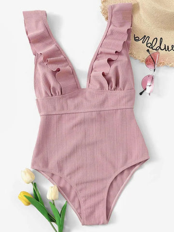 CM-SWS110895 Women Trendy Seoul Style Plunge Neck Ruffle One Piece Swimsuit - Pink