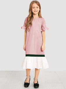 CM-KD306112 Girls Seoul Style Keyhole Back Cut And Sew Dress - Pink